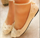 Comfort Flat Princess Handmade Mary Janes Lace Beach Wedding Shoes