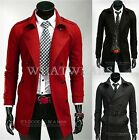 Mens Trench Winter Coat Stylish Long Double Breasted Jacket Overcoat Outwear WFR