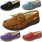 Kyпить Alpine Swiss Sabine Womens Suede Shearling Moccasin Slippers House Shoes Slip On на еВаy.соm