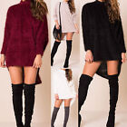 AS75 Womens Ladies Turtle Neck Fluffy Oversized Knitted Jumper Dress Long Top