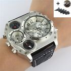 Fashion Leather Quartz Sport Military Stainless Steel Dial Wrist Watch Men +gift
