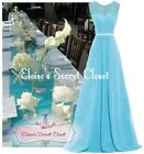NWT GRACE Aqua Blue Lace Chiffon Maxi Bridesmaid Ballgown Dress Sizes 6 -18