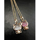 Women Gold Plated Pendant Necklace White Pink Cute Cat Necklace Hang Jewelry