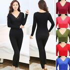 Ladies Thermal Long Sleeve Lace V Neck Winter Warm Thermal Underwear