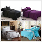 Solid Queen Size Bed Linen Quilt/Duvet/Doona Covers Set New Cotton Black+Purple