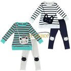 Fashion Baby Girls Toddler Striped Shirt + Cat Legging Pants Set Clothes Outfits