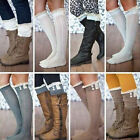 Womens Knitted Knee High Socks Fancy Button Leg Warmers Lace Trim Boot Socks Hot