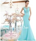 ARIA Aqua Turquoise Beaded Chiffon Maxi Evening Cruise Ballgown Dress UK 6 -18