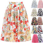 Women 50's 60's Rockabilly Polka Dot Floral Evening Pleated A-line Swing Skirts