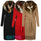 Ladies Italian Fur Collar Long Coat Womens Waterfall Style Oversized Trench Coat