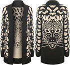 New Ladies Leopard Knitted Cardigan Womens Black Long Sleeve Stretch Top 8 - 14