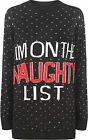 Womens Knit Long Sleeve Xmas Christmas Naughty List Print Sweater Ladies Jumper