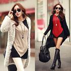 Winter Women Blouse Color Block Batwing Sleeve Casual Loose Tops Red/Beige L0VL