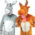 Big Head Christmas Animals Adults Fancy Dress Jumpsuit Nativity Festive Costume