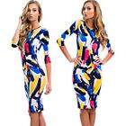 3/4 Sleeve Bodycon Dress Women Mini Dress Lady Bandage Round Neck Dress L6FW