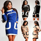 Winter Women Pocket Long Sleeve Jumper Sweater Tops Bodycon Tunic Mini Dress New