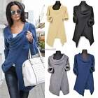 Women's Cowl Neck Cardigan Jumper Pullover Knitted Coat Sweater Casual Tops N4U8