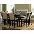 Riverdale Upholstered Distressed Black/ Amaretto Wood Counter Height Dining Set