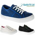 LADIES FLAT PLIMSOLLS PUMPS TRAINER WOMENS LACE UP CANVAS SHOES TRAINERS BOOTS