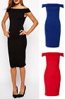Womens Off Shoulder Ponte Jersey Bodycon Ladies Long Midi Side Zip Party Dress