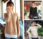 Lady Round Neck Long Sleeve Knitted Pullover Jumper Loose Sweater Knitwear Top C