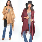 Cozy Draped Fringe Solid Shawl Cape Kimono Jacket