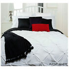 PUFFY White Ruched Quilt Doona Duvet Cover Set SINGLE DOUBLE QUEEN KING