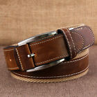 Classic Alloy Buckle Waistband Men Fashion Sports Canvas Splice Leather Belt C48