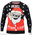 Mens Christmas Jumper Xmas Knitted Santa Novelty Sweater New Size S M L XL Red