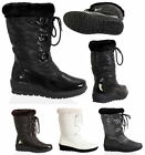 WOMENS LADIES MID CALF WINTER FUR LINED SNOW MOON JOGGERS METALLIC BOOTS SIZE
