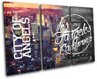 Los Angeles LA Typography City TREBLE CANVAS WALL ART Picture Print