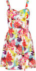 Womens Floral Flower Print Strappy Bustier Pleated Ladies Mini Flared Dress 8-14