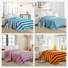 Striped Solid Queen King Bed Size Blankets Flannel Throw Rug Comforter Linen