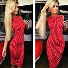 New Women Polka Dot Dress Sleeveless Bodycon Party Evening Cocktail Pencil Dress
