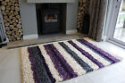 SMALL LARGE RUGS THICK SOFT SHAGGY RUG NON SHED 5cm PILE NEW STRIPE PURPLE RUGS