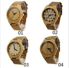 Mens Wood Watch Bamboo Wooden Watch Genuine Leather Quartz Wristwatches+Box Lot