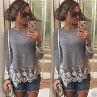 Sexy Women Summer Vest Top Long Sleeve Blouse Casual Tank Tops T-Shirt Lace New