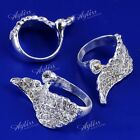Silver/Gold Plated Crystal Rhinestone Angel Wing Finger Ring Women Men Gift US8