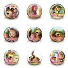 45PCS Masha and Bear uttons pins badges,30MM,Round Brooch Badge,Bags Accessories