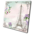 Paris Floral Vintage SINGLE CANVAS WALL ART Picture Print