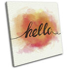 Hello Typography Illustration SINGLE CANVAS WALL ART Picture Print