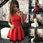 UK Women Sleeveless Skirt Dress Ladies Evening Party Mini Skater Dress Size 6-14