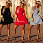 Womens Sexy Bodycon Skirt Cocktail Party Short Mini Skater Dress 3/4 Sleeve S-XL