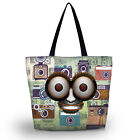 Funny Face Women's Soft Reusable Large Capacity Shoulder Bag Carry Tote Zippered