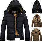 New Winter Men's Hooded Down Polyester Coats Padded Fleece Lined Jackets Outwear