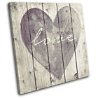 Shabby Chic Love Heart Vintage SINGLE CANVAS WALL ART Picture Print