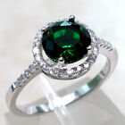 ELEGANT 2 CT EMERALD 925 STERLING SILVER RING SIZE 5-10
