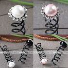 Wholesale Bridal Wedding Crystal Pearls Flower Spiral Hair Pins Clip Barrette