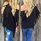 Sexy Women's OFF Shoulder Loose Tops Tassel Batwing Sleeve T-Shirt Casual Blouse