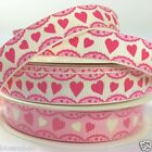 per metre Heart Frill Valentines ribbon 16mm wide grosgrain pink / antique white